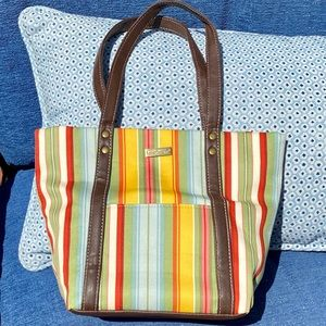 Longaberger Medium Striped East West Tote